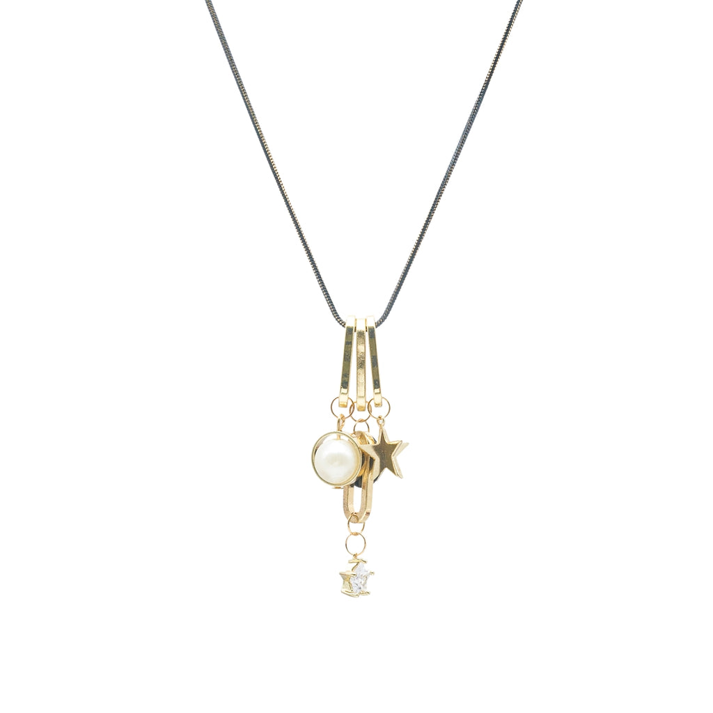 Long Zircon Charms Necklace - Kiyara