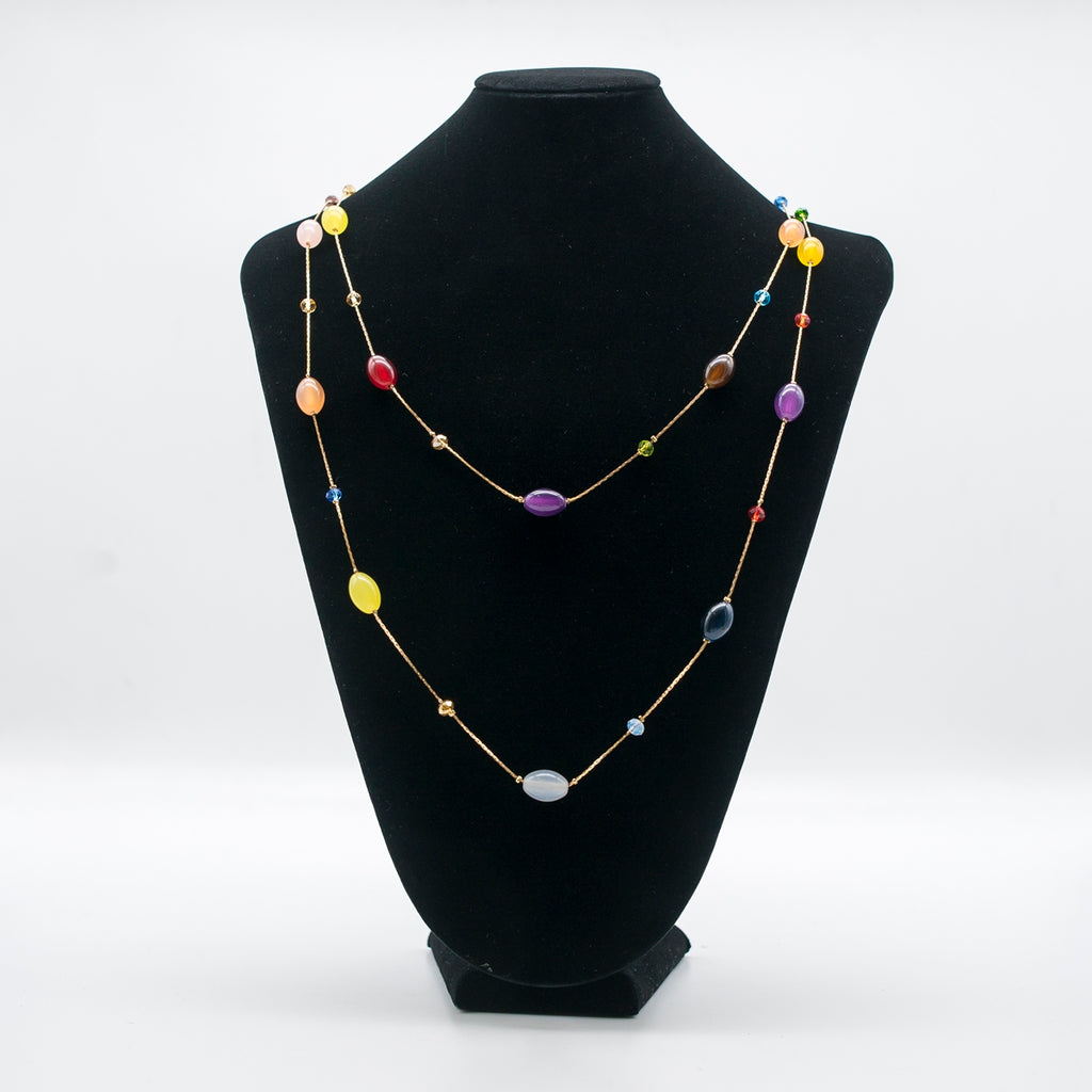 Pastel Multi-Colored Beads Necklace - Kiyara