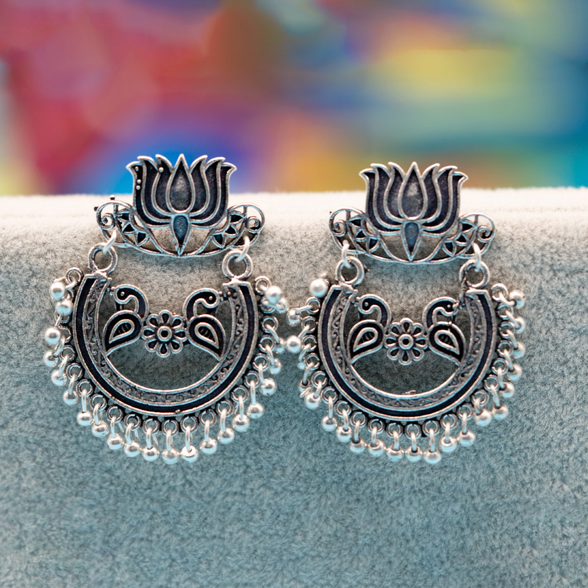 Traditional Sterling Silver Peacock Earring - Kiyara