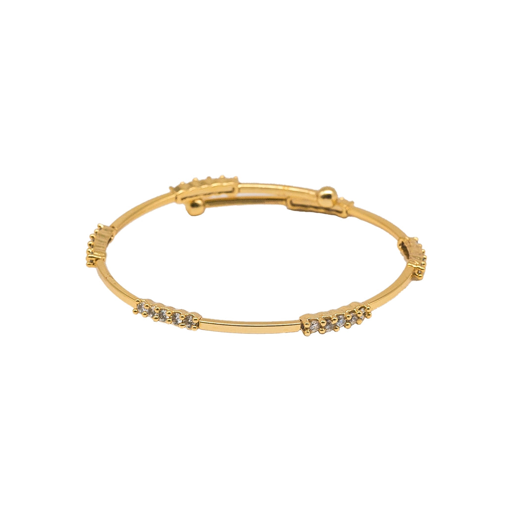Diamond Studded Dainty Flexible Cuff Bracelet - Kiyara