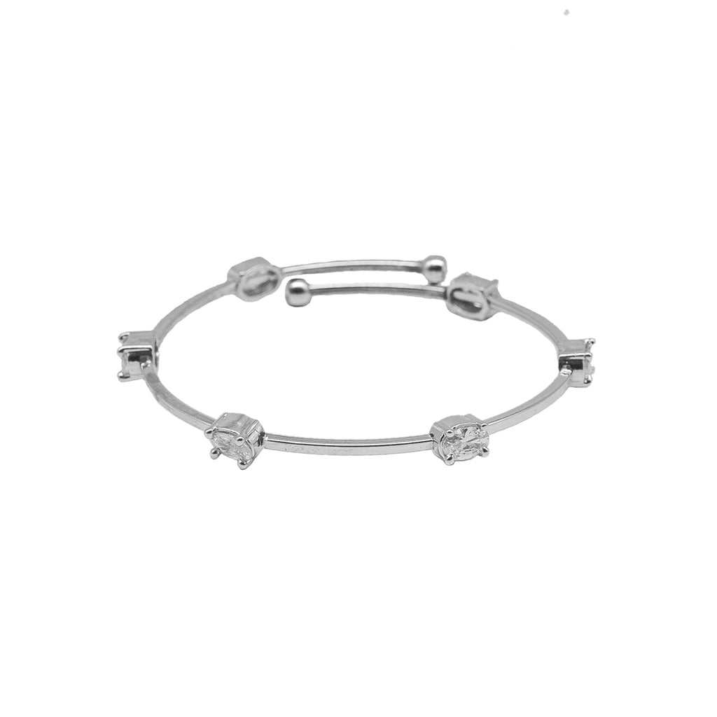 Bright Diamond Studded Graceful Flexible Cuff Bracelet - Kiyara