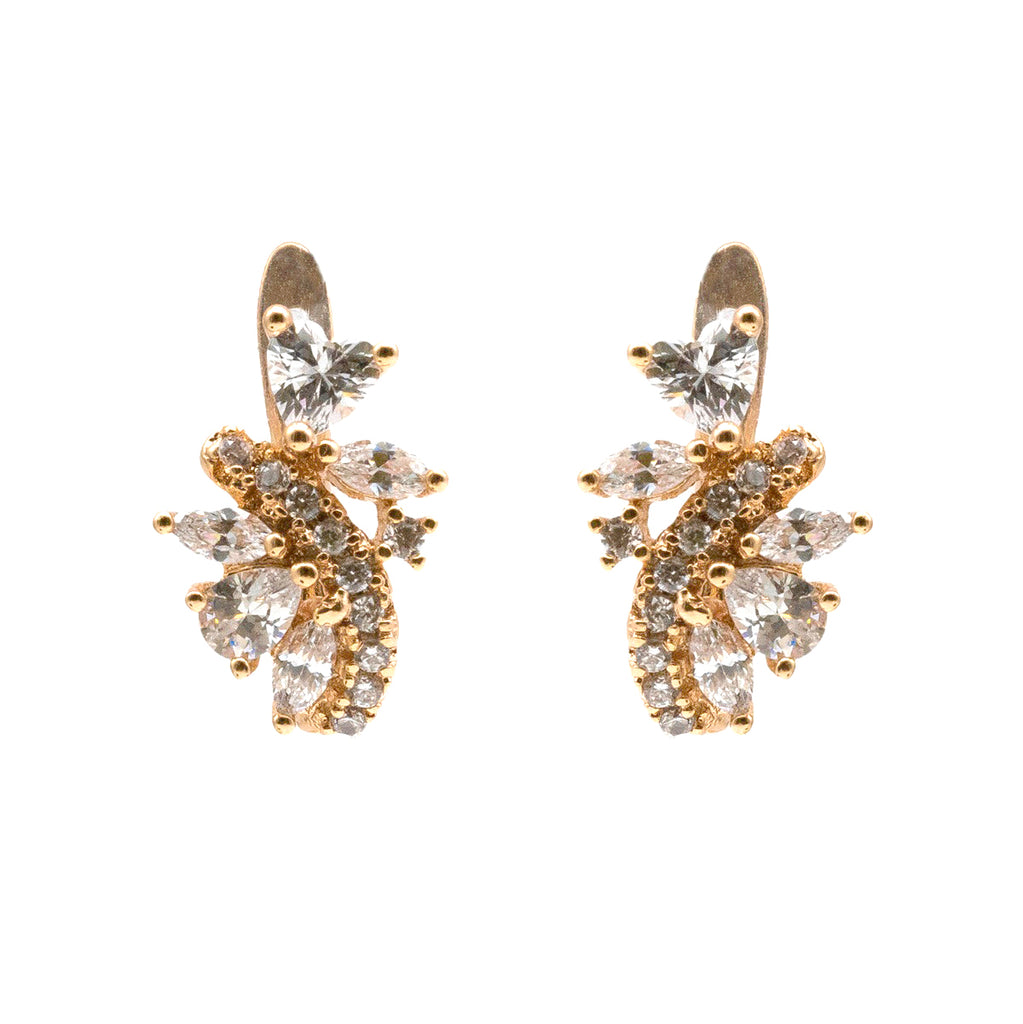 Sleek Pattern Swarovski Crystal Hoop Earring - Kiyara