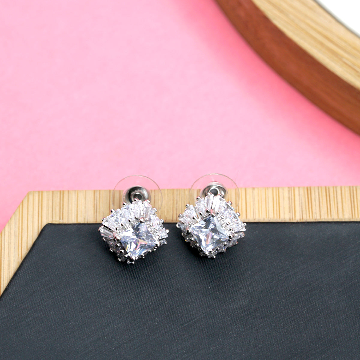 'Beaverbrooks' Square Crown Crystal Stud - Kiyara