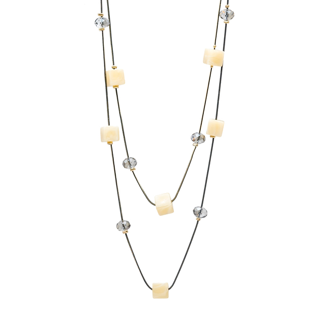 Two Layered Pastel Colored Cube Necklace - Kiyara
