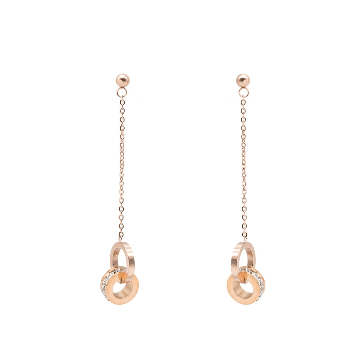 Atlas Double Ring Roman Numerals Earrings - Kiyara