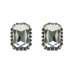 Emerald-Cut Coloured Solitaire Studs - Kiyara