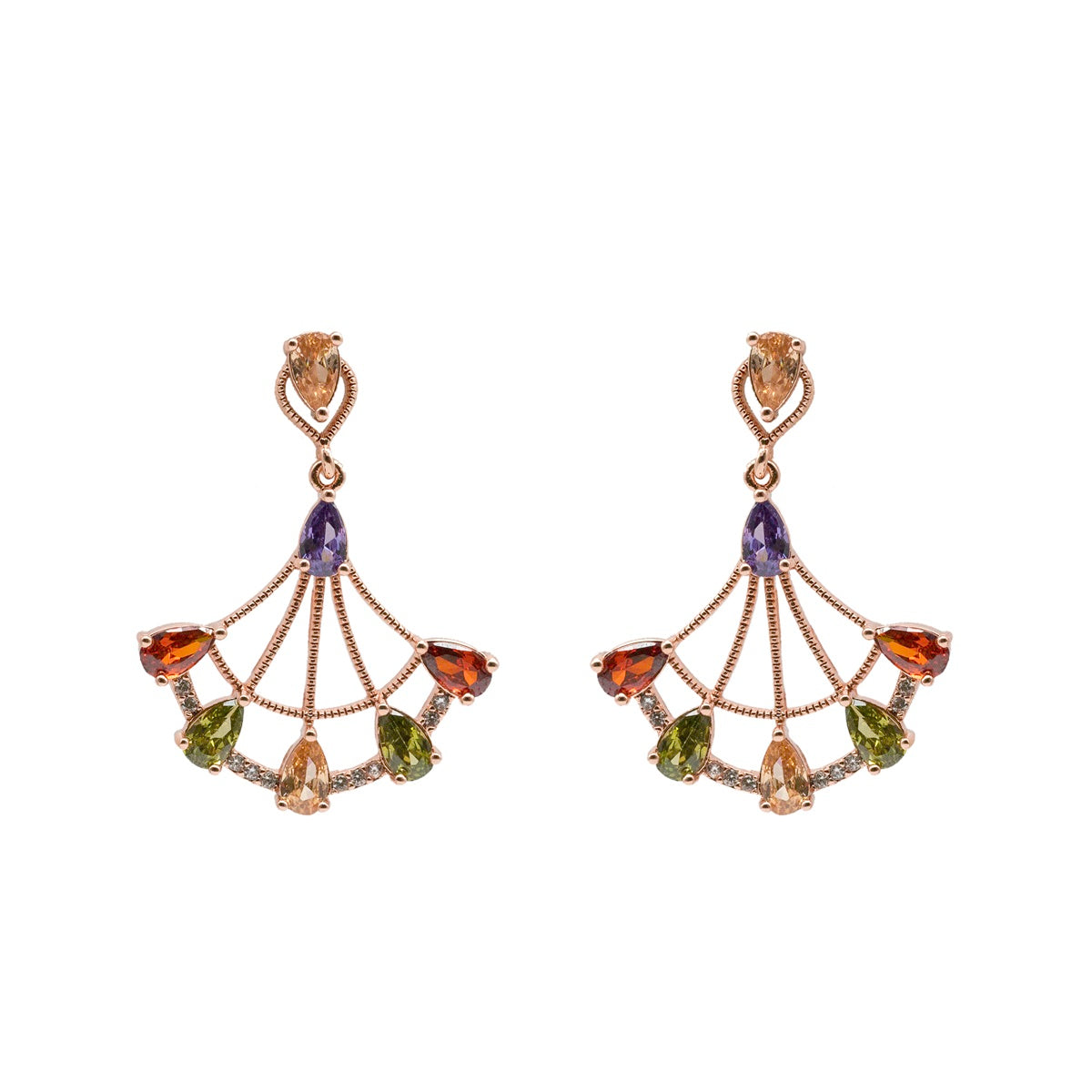 Colourful Crystal Fan Earrings - Kiyara