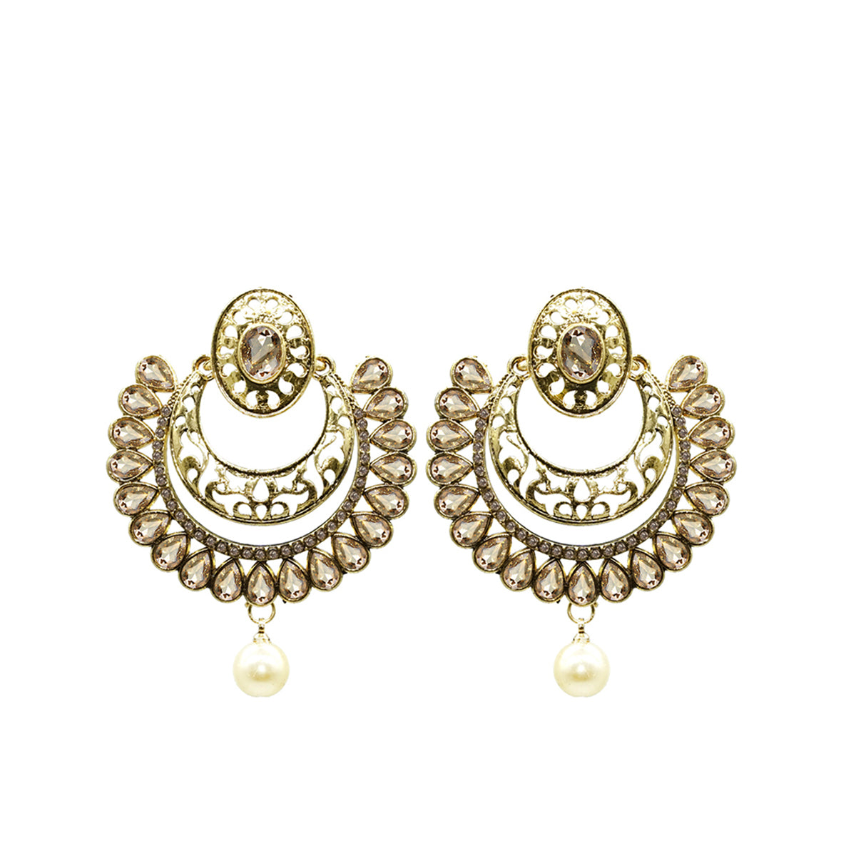 Golden Beads Contemporary Statement Earrings - Kiyara