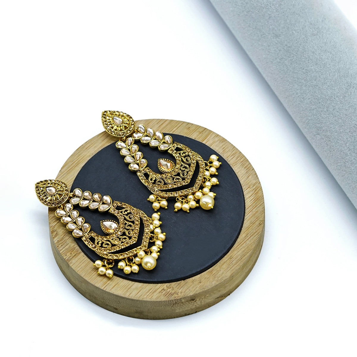 Antique Gold Tone Embellished Earrings - Kiyara