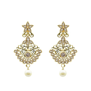 Traditional Gold Plated Stylish Dangle Earrings - Kiyara