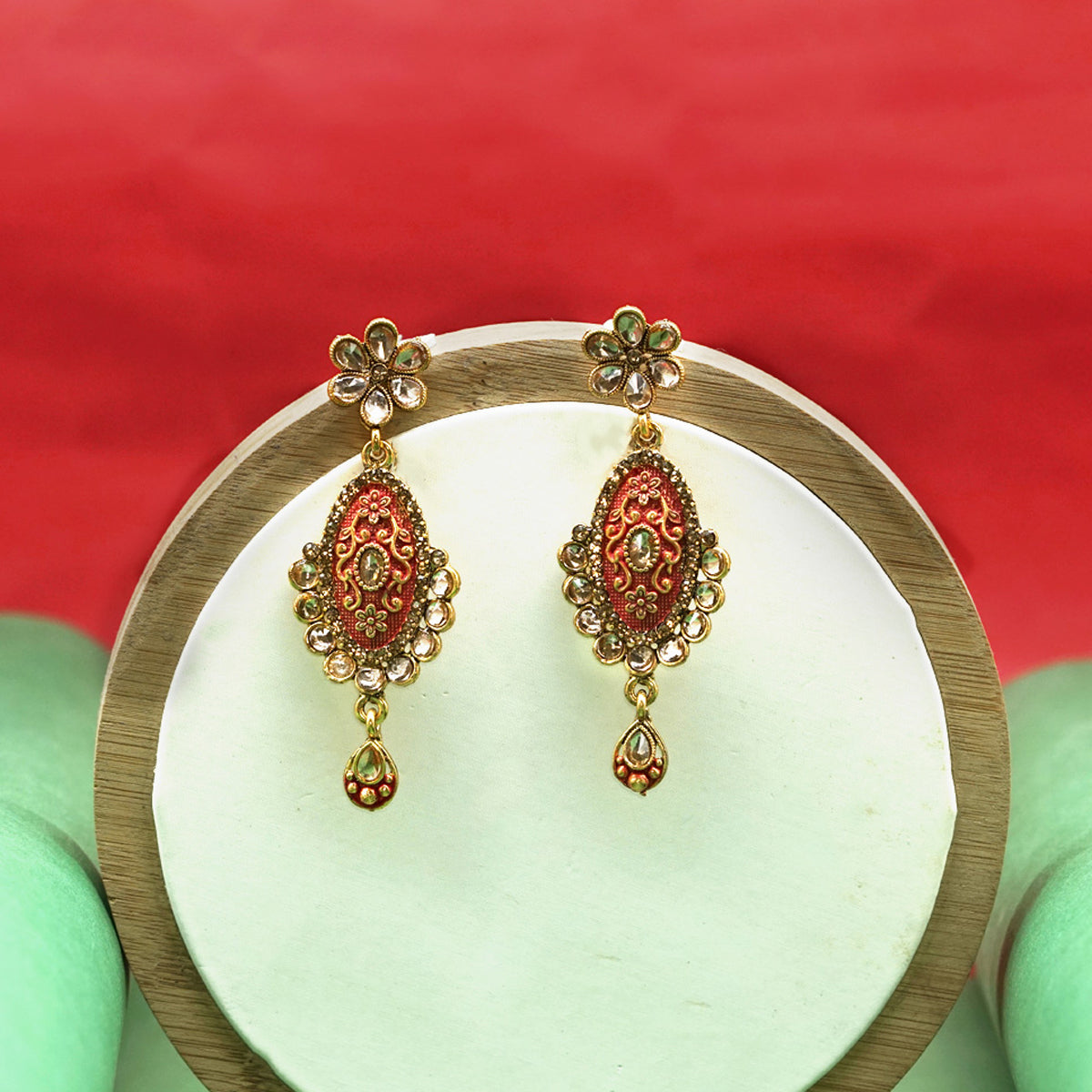 Traditional Oval Shape Earrings - Kiyara