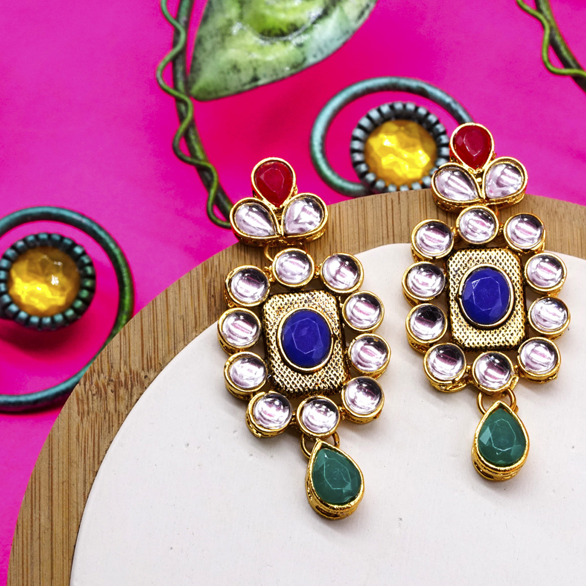 Colourful Kundan Charm Ethnic Earrings - Kiyara