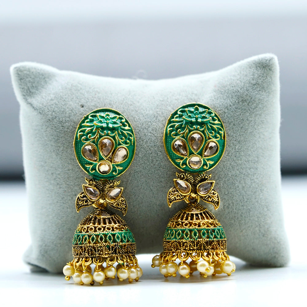 Brass Gold Plated Designer Bali Earrings - Kiyara