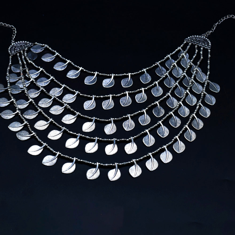 Fashion Multi Layer Leaf Pattern Unique Neck Piece - Kiyara