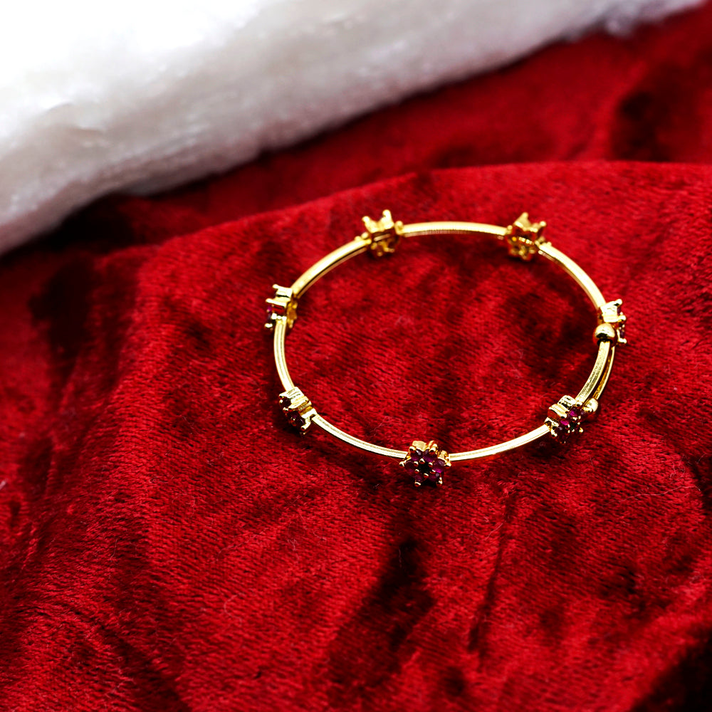 Ruby Color Gold Plate Embellished Bracelet - Kiyara