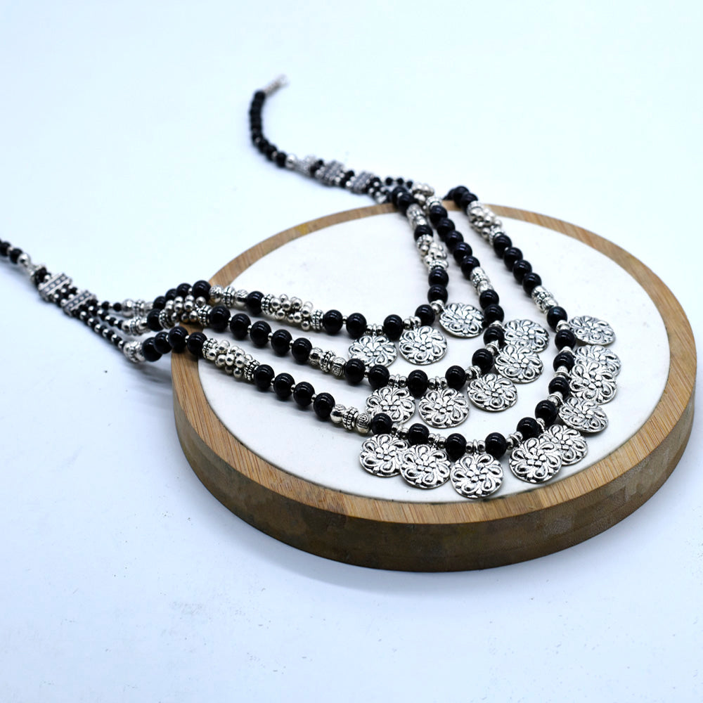 Handmade Classy Cascades of Coins & beads Necklace - Kiyara