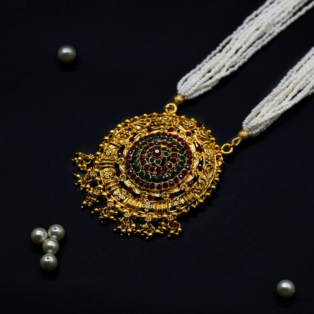 Golden Color  Traditional Long Necklace - Kiyara