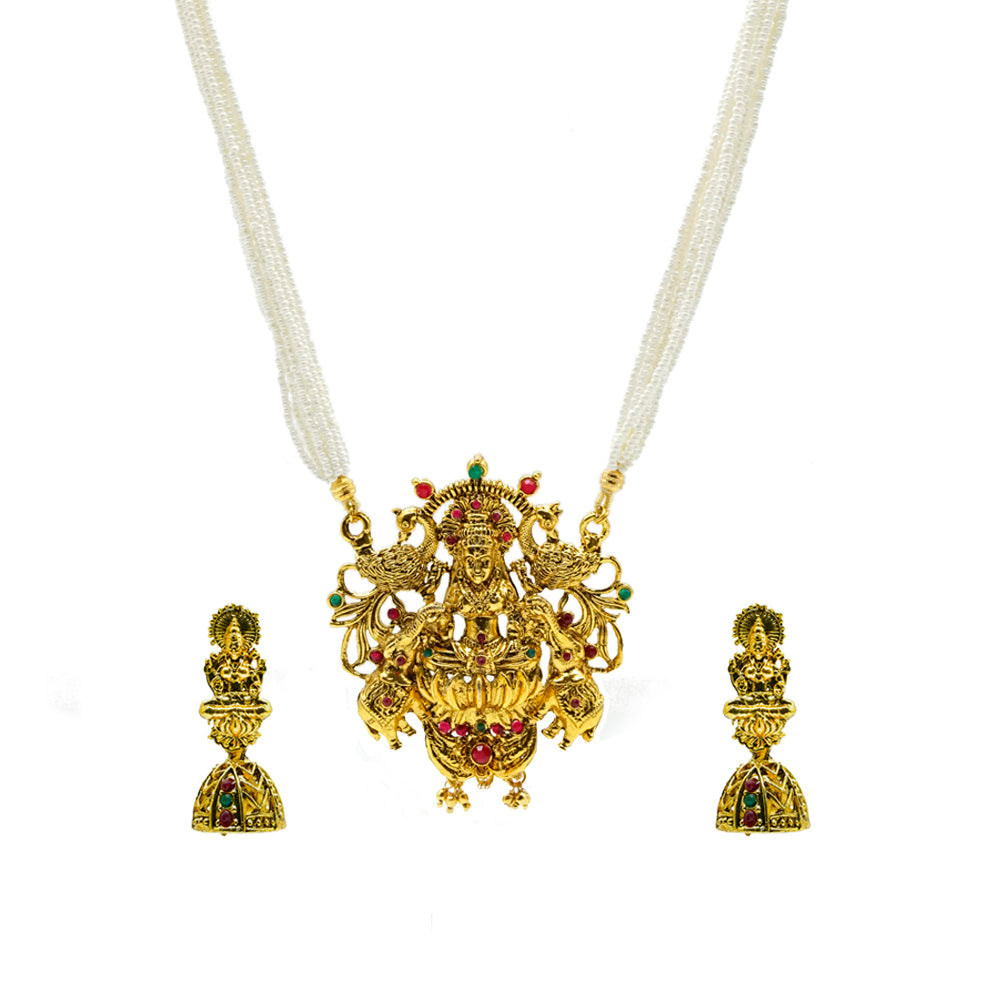 Gold Finish Lakshmi Goddess Necklace - Kiyara