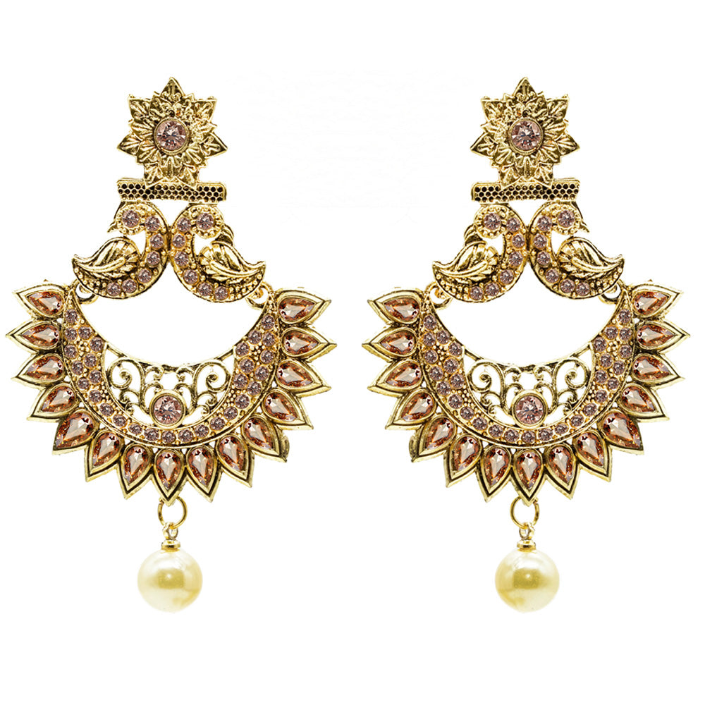 Gold Plated Alloy Metal Fashion Glass Beads Earrings - Kiyara