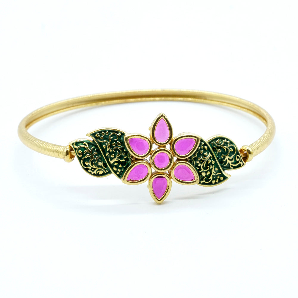 Contemporary Style Pink Color Flower Embellished Bracelet - Kiyara