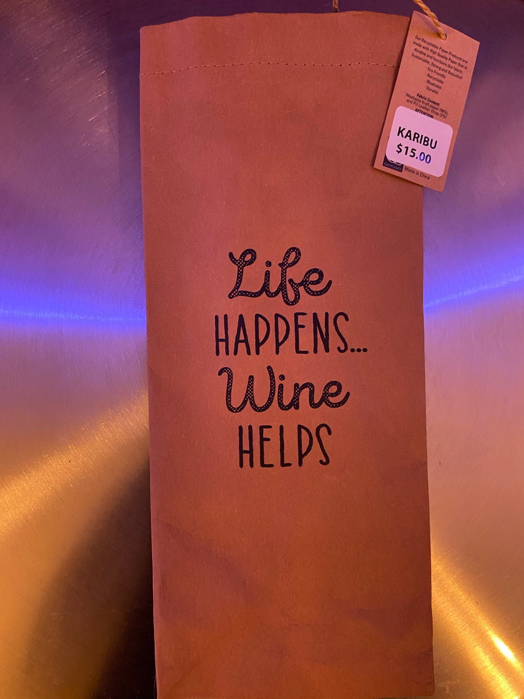 Life Happens, Wine Helps wine Bag