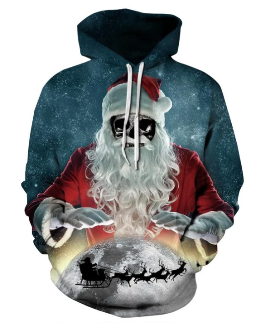 Christmas Skull Santa Rule The Earth Print Hoodie