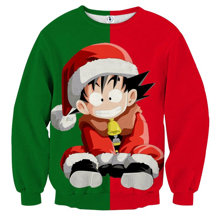 Dragon Ball Kid Goku Santa Claus Costume On Christmas Inspired Green Red Sweater