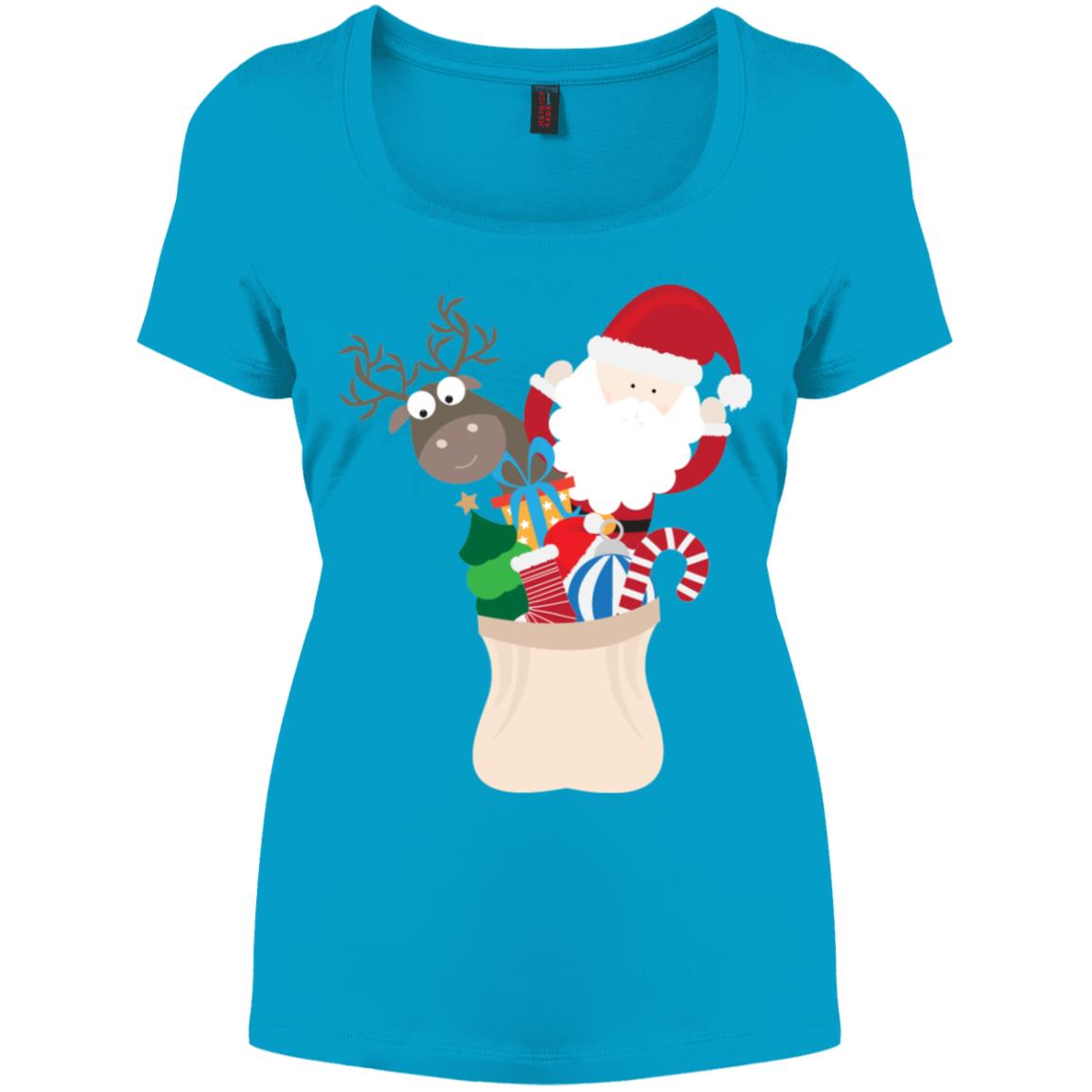 Cute Christmas Santa Claus Reindeer Gift Bag Women's Perfect Scoop Neck Tee