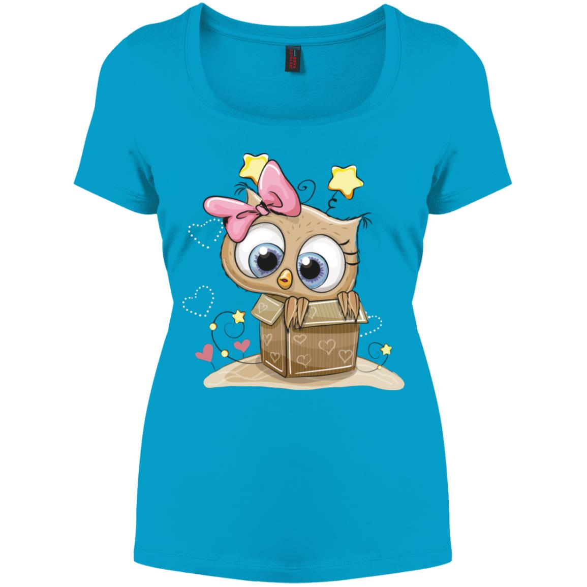 Cute Owl Gift Box Drawing Women's Perfect Scoop Neck Tee