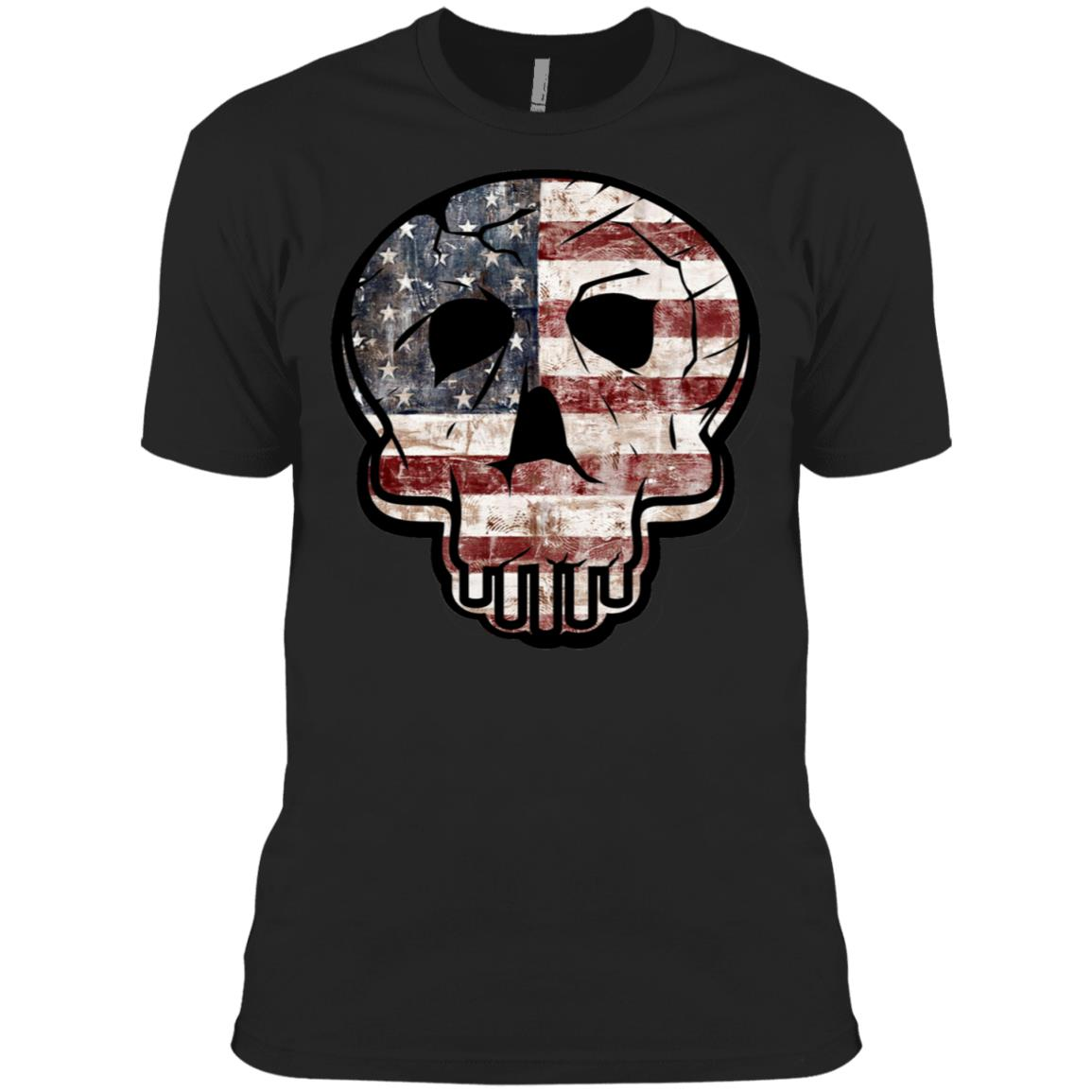 Skull Flag American Flag Veterans Day 3600A Next Level Men's Made in USA Cotton T-Shirt