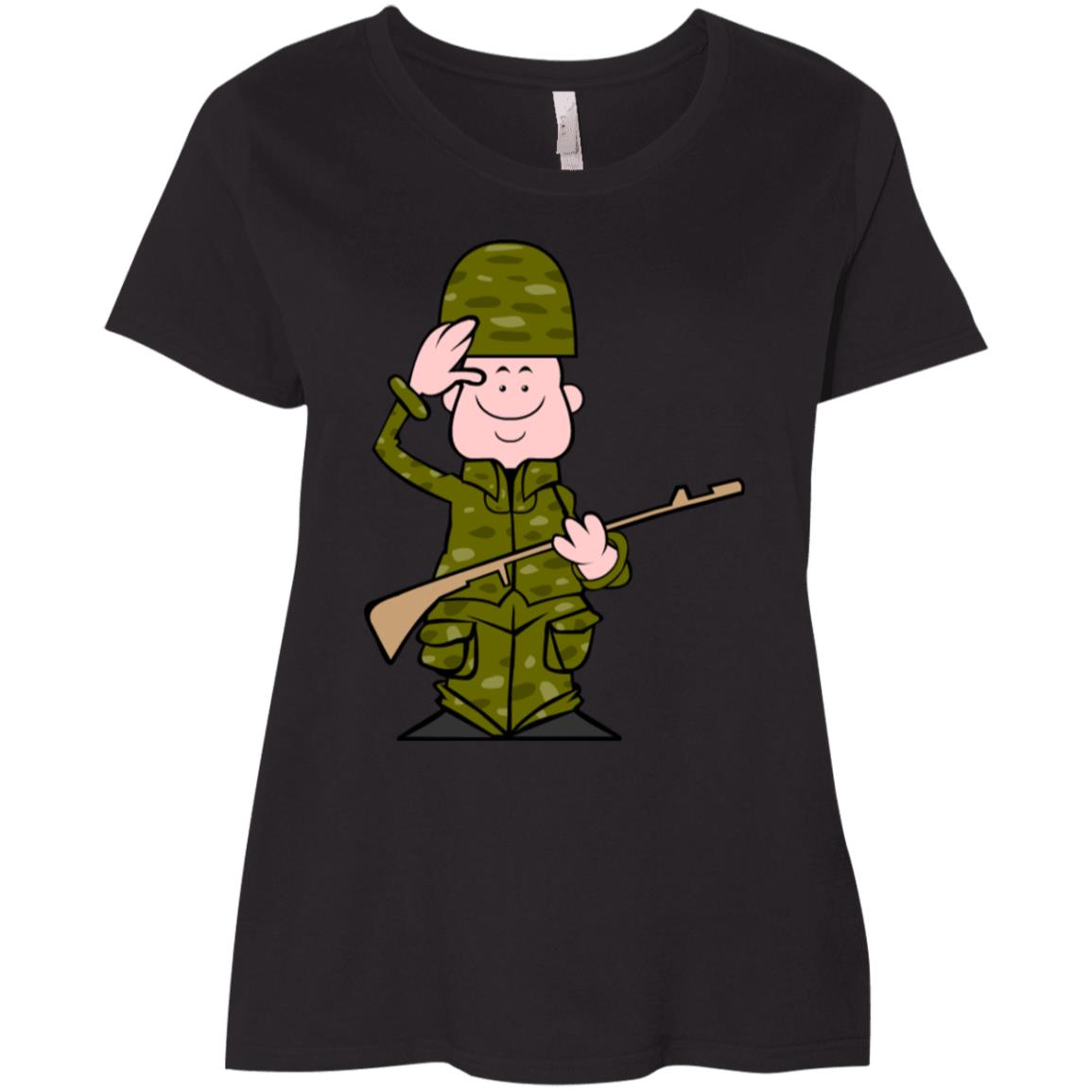 Army Cartoon Happy Veterans Day United States Ladies' Curvy T-Shirt