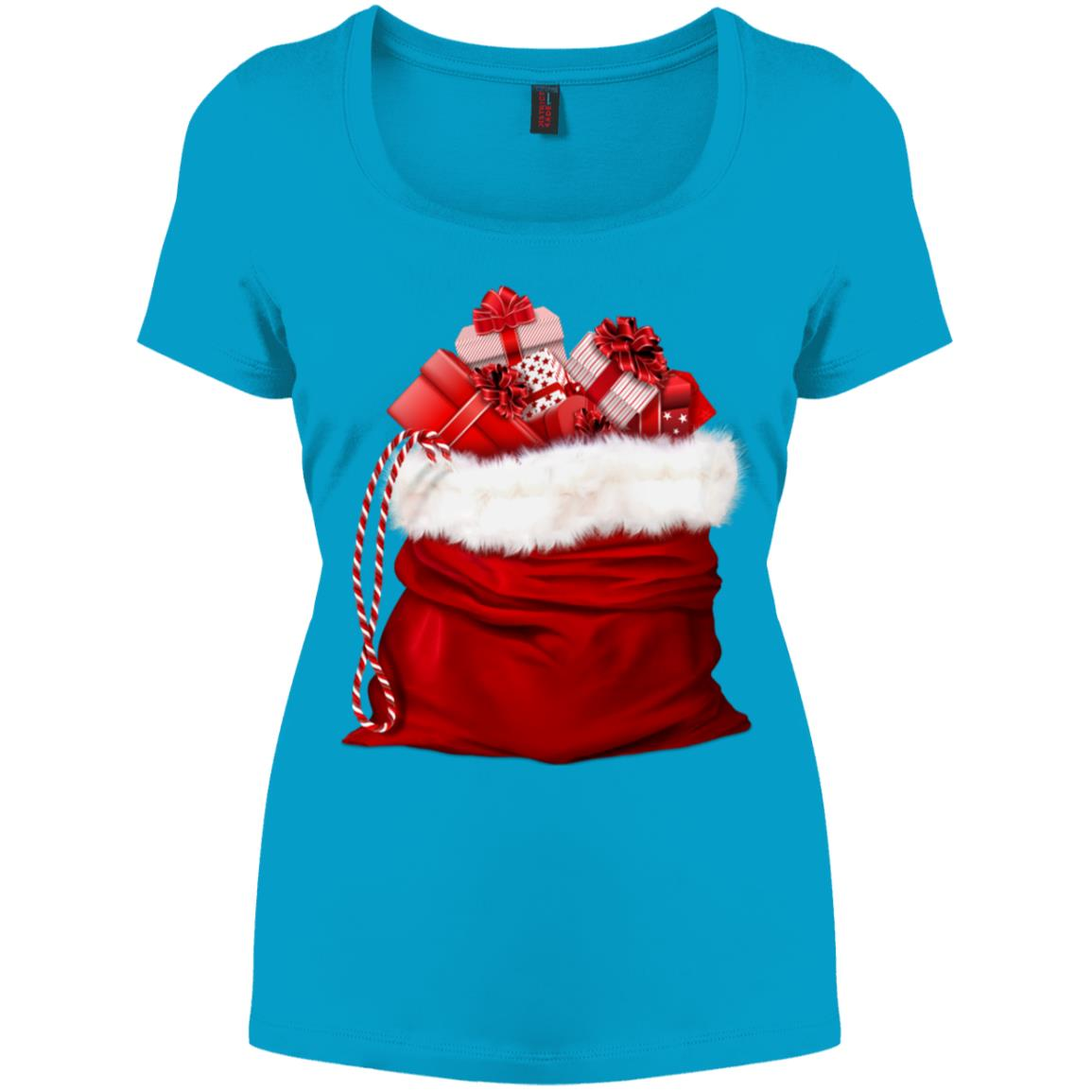 Christmas Santa Claus Gift Bag Women's Perfect Scoop Neck Tee