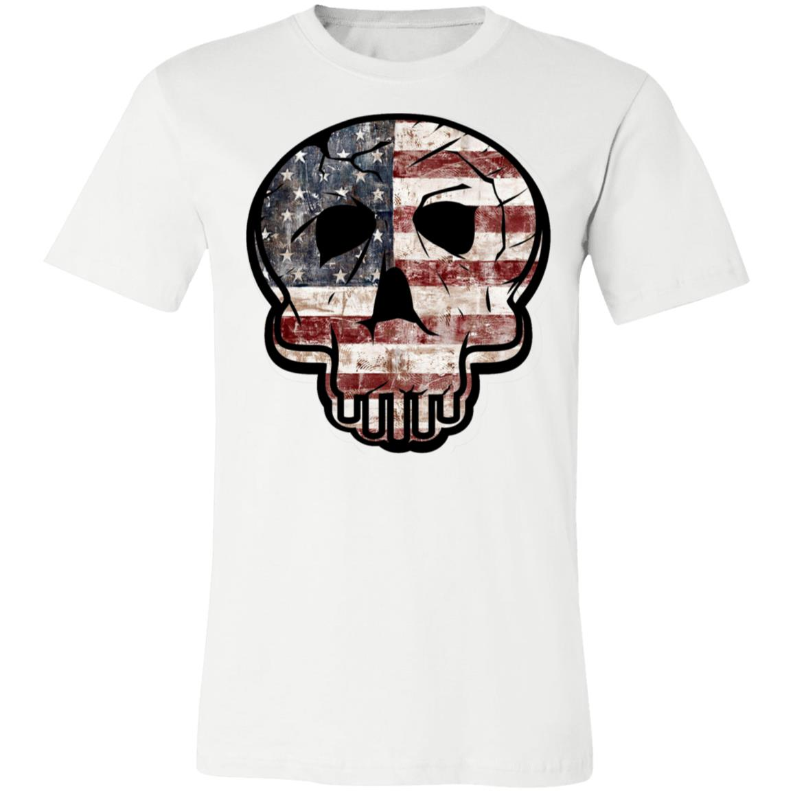 Skull Flag American Flag Veterans Day Jersey Short-Sleeve T-Shirt
