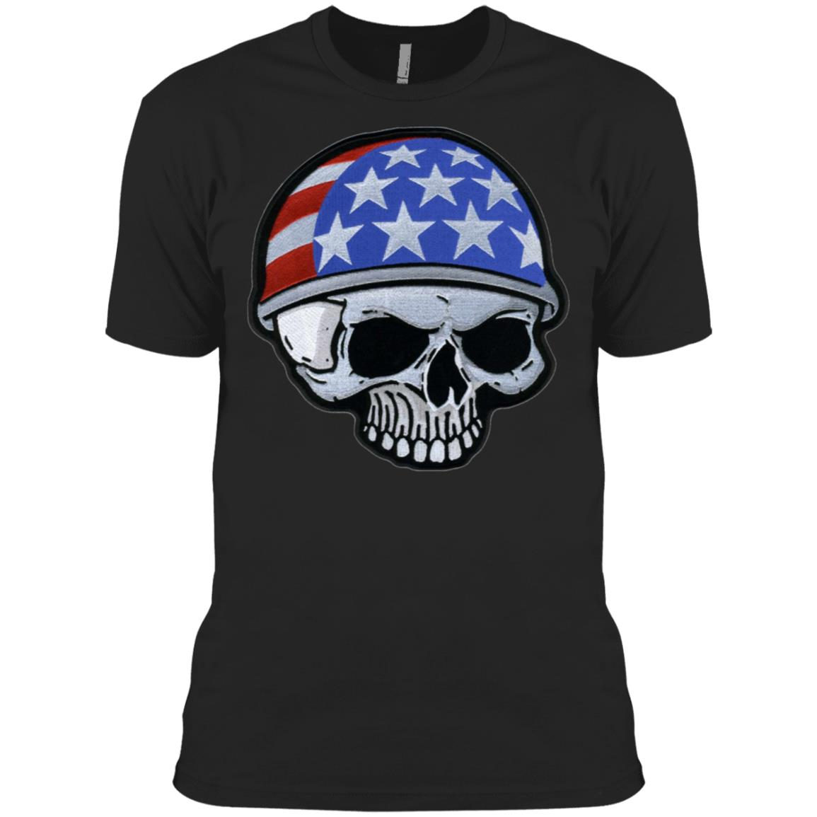 Motorcycle Helmet Skull Flag American Veterans Day 3600A Next Level Men's Made in USA Cotton T-Shirt
