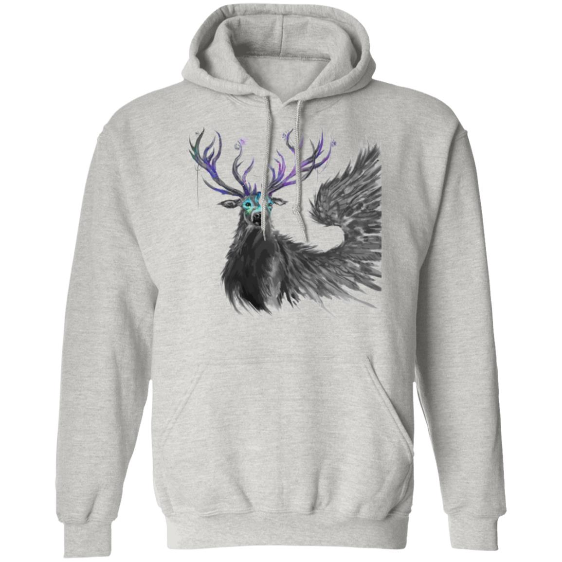 Dark Fantasy Reindeer Red Deer Antlers Vector Hand-Painted Drawing Pullover Hoodie 8 oz.