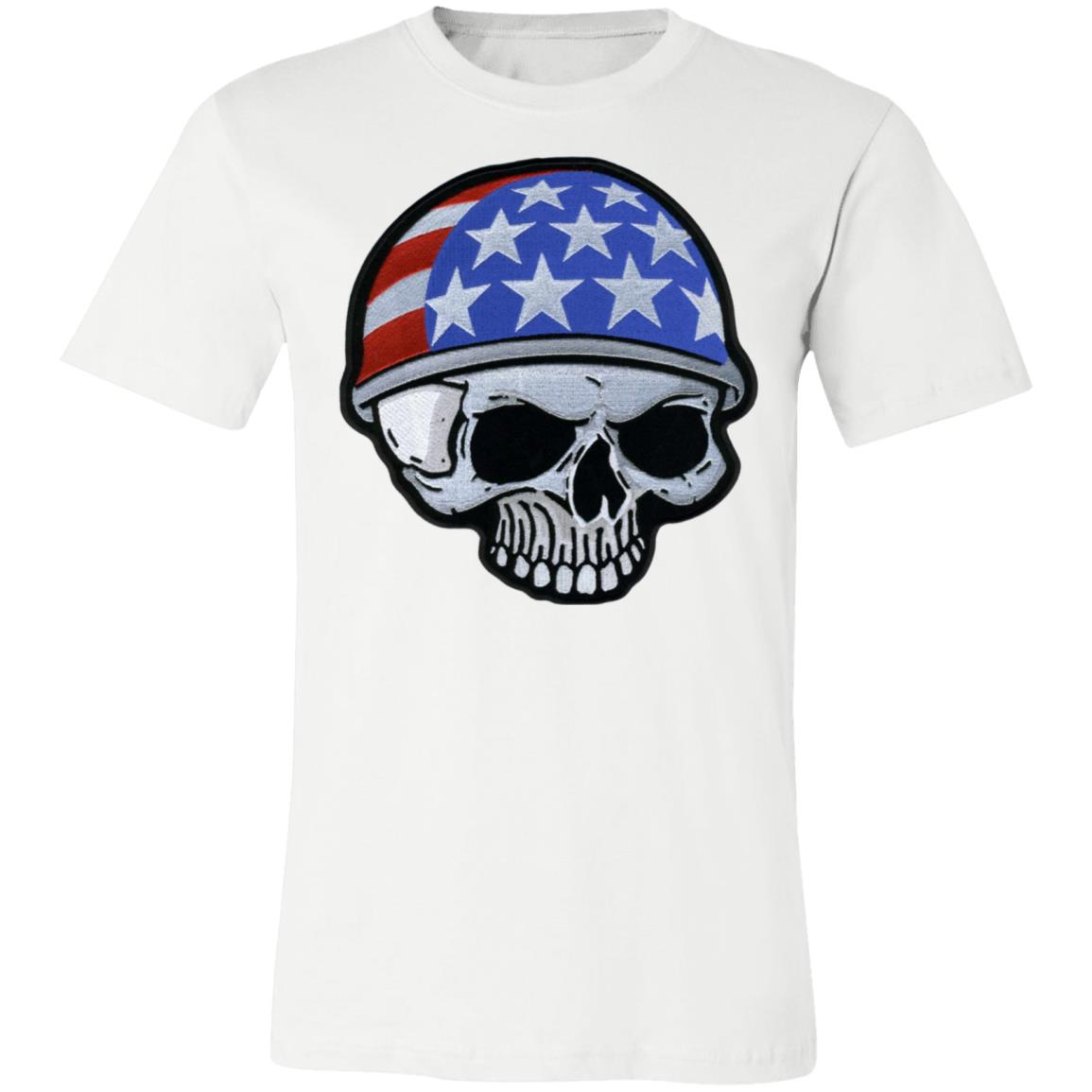 Motorcycle Helmet Skull Flag American Veterans Day Jersey Short-Sleeve T-Shirt