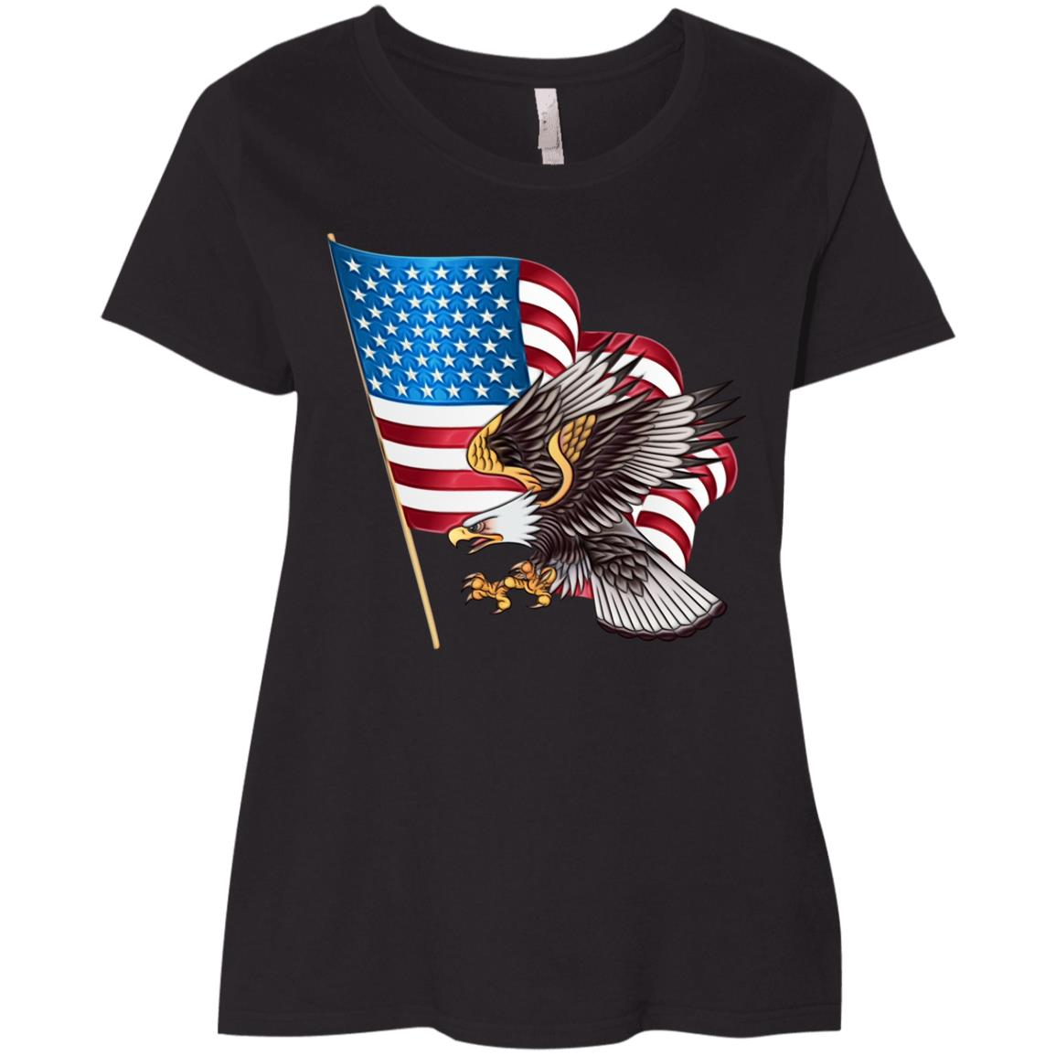 Happy Labour Day Veteran Day Eagles Flag Ladies' Curvy T-Shirt