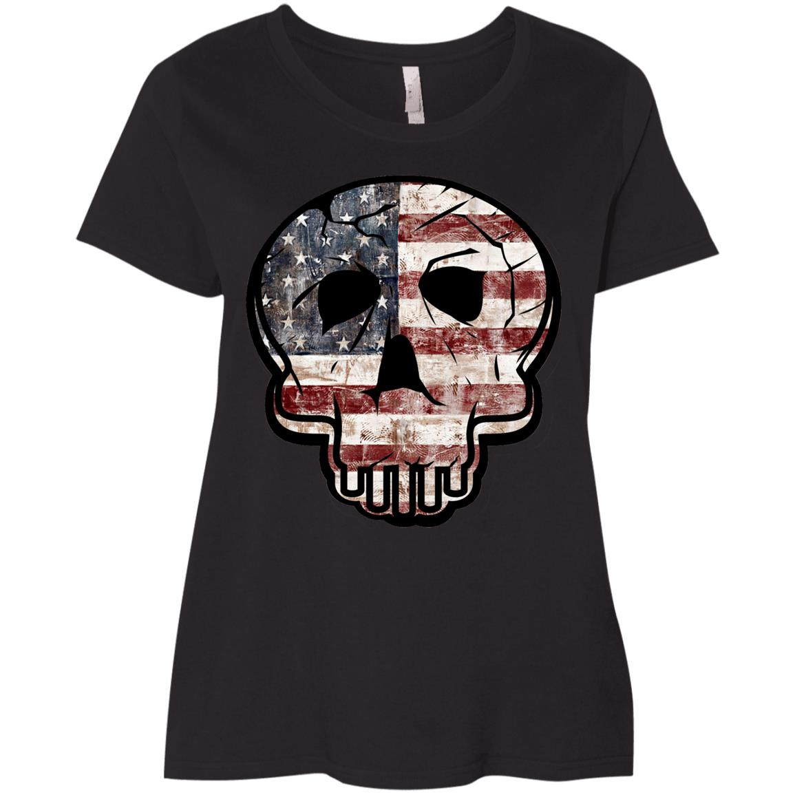 Skull Flag American Flag Veterans Day Ladies' Curvy T-Shirt