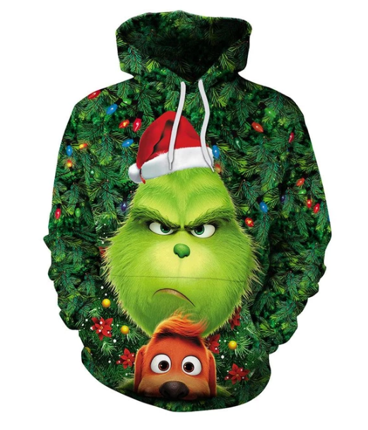 Unisex Christmas Long Sleeve Green Monster And Dog Print Hoodie