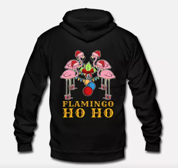 Unisex Fleece Zip Hoodie Flamingo Christmas Decorations Home Idea Gift
