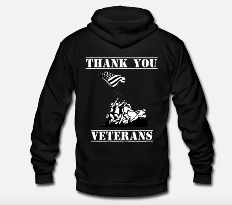 Unisex Fleece Zip Hoodie Thank You Veterans Patriotic Veteran