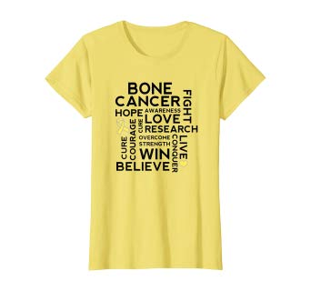 Women Bone Cancer Awareness Sarcoma Yellow Ribbon Pray Fight T-shirt