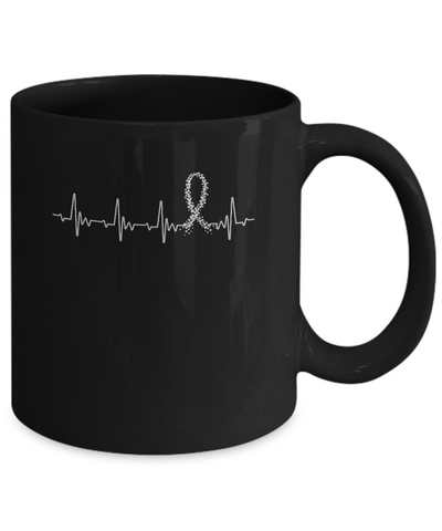 Brain Cancer Diabetes Awareness Gray Ribbon Heartbeat Mug