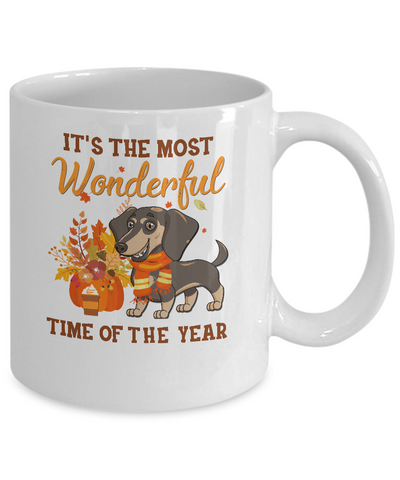 Dachshund Autumn It's The Most Wonderful Time Of The Year Mug