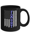 Stomach Cancer Awareness American Flag Distressed Mug