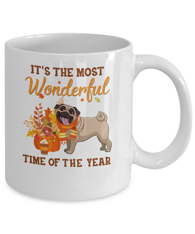Pug Autumn It's The Most Wonderful Time Of The Year Mug