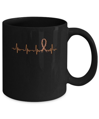 MS Leukemia Awareness Orange Ribbon Heartbeat Mug