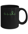 Kidney Disease Liver Cancer Awareness Green Ribbon Heartbeat Mug
