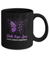 Faith Hope Love Purple Butterfly Cystic Fibrosis Awareness Mug