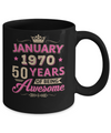 Vintage January 1970 50th Birthday Gift Being Awesome Mug